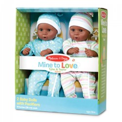 Mine to Love Twins - Tyler & Taylor African American Dolls with Pacifiers