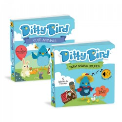 Ditty Bird Farm Animal and Cute Animal Touch and Feel Sound Books - Set of 2