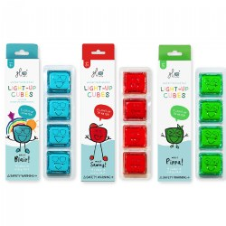 Glo Pals Light Up Cubes - Extended Battery Life - 12 Red, Green, & Blue