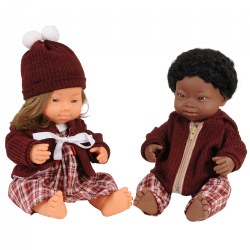 "Dolls with Down Syndrome 15"" - Caucasian Girl and African Boy"