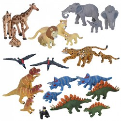 Nature Tube Dinosaurs and African Wildlife Set