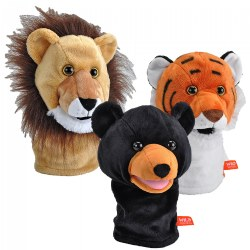 Wild Calls Puppet Set with Realistic Sounds - Set of 3 - Lion, Tiger & Bear