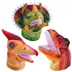 Dino Puppets with Sound Set - T-Rex, Pteranodon & Triceratops