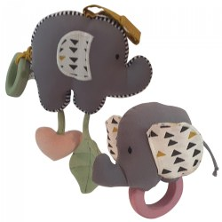 Organic Elephant Baby Toy with Rubber Teether & Matching Elephant Rattle with Rubber Teether