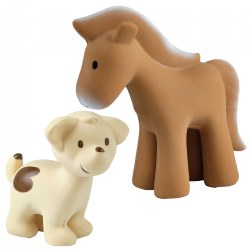 Farm Animals - Horse and Puppy Teether, Rattle & Bath Toy - Set of 2
