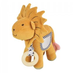 Organic Lion Activity Toy with Teether, Mirror, Crinkle Sound and Squeaker