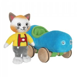 Huckle Cat Soft Toy With Car 7.5""