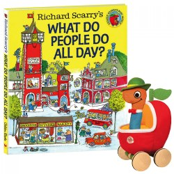 Lowly Worm Soft Toy In Applecar & Richard Scarry Hardcover Book