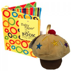 Vanilla Cupcake & Crinkle Book Gift Set - Baby Paper Crinkle Toys