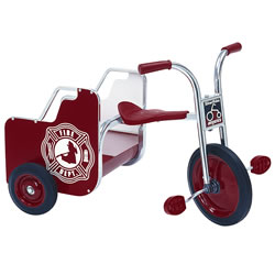 "Hefty cargo bed with Fire Engine sign and grab bars carry little firefighters everywhere! 38 1/4""L. Seat: 15 3/4""H. Handlebar: 25 1/2""H. Made in the USA."
