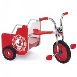 "3 - 8 years. Carry passengers on this hefty cargo bed with Fire Engine sign and grab bars. Features a cargo bed in back for hauling and include fire truck signs, durable chrome plating and a welded steel frame with primary red accents. The solid rubber tires are long-lasting and contain self-lubricating nylon bearings. SilverRider® Fire Truck Trike supports up to 140 lbs., and the recessed hub is designed for safety. Easy  1-bolt assembly. The seat measures 15 3/4""H, the front wheel measures 12"" in diameter, and the handlebars measure 24 1 / 2""H."