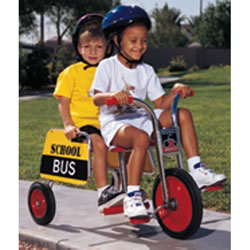 "2 - 8 years. Carry passengers in twin seats with steel handrails and footrests. 41""L. Front seat: 16""H. Rear Seat: 15""H. Handlebar: 25 1/2""H. Made in the USA."