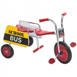 "3 - 8 years. Carry passengers on this tandem trike with steel handrails and footrests. Features durable chrome plating and a welded steel frame with primary red accents. The solid rubber tires are long-lasting and contain self-lubricating nylon bearings.  Supports up to 140 lbs., and the recessed hub is designed for safety. Requires easy 1-bolt assembly. The seat measures 16""H, the front wheel measures 12"" in diameter, the rear seat measures 15""H, and the handlebars measure 24 1/2""H."