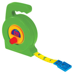 "3 years & up. The Big Tape is just like a carpenter's, except that it is child-friendly. Measure everything in centimeters or inches using this retractable tape measure. Big and chuncky and easy for little hands to use and understand size relationships. Tape measures 36""/ 100 cm long."