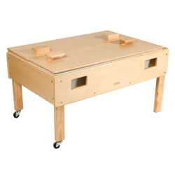 "3 years & up. Table features a 9"" deep plastic tub with a unique drain and a two-piece top that hooks on the side for easy storage. Includes handles on each end and heavy-duty casters on all four legs for easy mobility. Birch frame and top. Measures 24""H x 45""L x 28""D. Minor assembly required. Indoor use only."