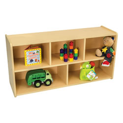 Classic Maple Laminate Toddler 5-Compartment Storage Unit - Solid Back