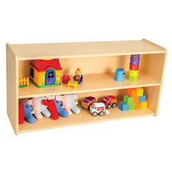Classic Maple Laminate Toddler Two Shelf Storage Unit - Solid Back