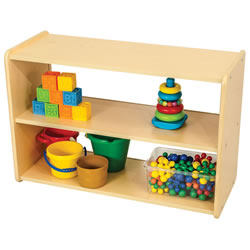 Classic Maple Laminate Toddler Two Shelf Storage Unit - Acrylic Back