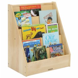 "The intentional design of this shelf allows for optimal front cover display. The ease of locating an old favorite or new title will appeal to children's visual nature and draw them into the enriching world of literature. The depth of the shelves supports easy removal and replacement of reading materials. Measures 28""H x 24""W x 15""D. Books not included."