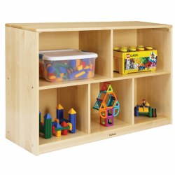 Premium Solid Maple Preschool 5-Compartment Storage Unit