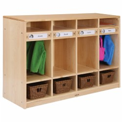 "This four-section locker, which includes a main cubby section with two hooks and two additional shelves, allows for complete storage of infant and toddler belongings. The personalized nameplates label children's individual space and supports self-awareness. Measures 32""H x 48""W x 15""D. Baskets and Bins are sold separately."
