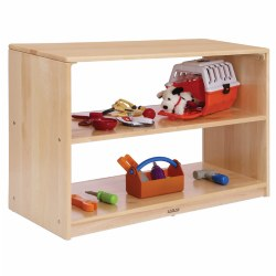 "The welcoming and open quality of these shelves invites children to engage and explore all of the materials stored inside. The low clearance provides additional space for classroom displays or for utilizing as an activity space. Measures 24""H x 36""W x 15""D. Contents not included."