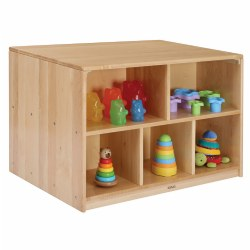"With shelving options on both sides, the versatility of this quality piece complements all classrooms. Substantial storage space is one of the benefits as well as defining areas. The generous surface area provides an ideal space for engaging play experiences. Measures 24""H x 36""W x 24""D. Contents not included."
