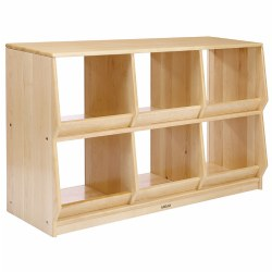 "This functional and appealing unit provides ample storage for any area of the classroom. Each section has an angled lip that prevents materials from falling out which makes this unit ideal for transportation items or those with smaller pieces. Measures 24""H x 48""W x 15""D. Contents not included."