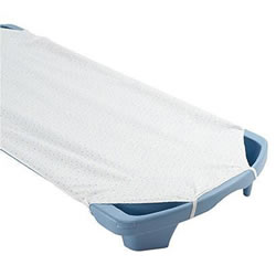 "This white cot sheet is made from soft, colorfast, durable fabric with a plisse-or puckered finish which adds to its softness. Elastic loops keep sheet neatly in place. Measures: 22 1/2"" x 50 1/2"". Made specifically to fit Angeles® SpaceLine® or Premier™ cots."