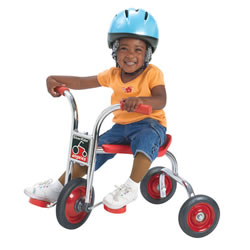 "18 - 24 months. Sturdy, extra-stable, fun to maneuver, and just the right size for  toddlers. Seat height is 12 1/2"" and Handlebar height is 19 1/2"" with a 5 year guarantee."