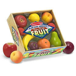 "3 years & up. Picked at the peak of ripeness, these realistically sized fruits will add lots of vitamin P for play to your child's culinary activities. There are 8 pieces packed in this crate of ""farm fresh"" favorite fruits. This durable, molded-plastic food is ideal for kitchen and grocery play. Crate measures 10""H x 9.5""W x 3.3""L."