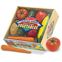 "3 years & up. Tempting your children to try some delicious vegetables will be much easier once they have played with these realistically sized ""fresh from the farm"" veggies! There are 7 pieces packed in this crate of harvested seasonal favorites. This durable, molded-plastic food is ideal for kitchen and grocery play. Crate measures 10""H x 9.25""W x 3""L."