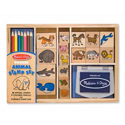 "4 years & up. Animal lovers, here's the stamp set for you! Mix and match the detailed stamps with images of wild and domestic animals from land and sea, to create hundreds of beautiful scenes. All the pieces, including 16 stamps, 7 colored pencils and a durable inkpad, store in the sturdy wooden box. Washable, non-toxic kid-friendly ink.  Dimensions: 1.5"" x 7"" x 11"" Packaged.   Conforms to ASTM D-4236."