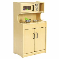 "Cupboard with microwave set is made of premium birch plywood. Features extra storage behind the doors, no-pinch hinges, an area to display extra products, 23"" countertop and fully-rounded safe corners. The microwave has a clear acrylic panel to see what is inside and a decal on the side for children to pretend to push the buttons. Minor assembly is required. 37""H x 20""W x 13""D. Dishes and food are not included."