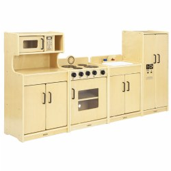 "Our hig-quality child-size birch hardwood kitchen units will provide many years of play as children bake, cook, and expand their imagination. Features include no-pinch hinges, 23"" countertop and fully-rounded safe corners. Set includes: Cupboard with Microwave (37""H x 20""W x 13""D), Range (26""H x 20""W x 13""D), Sink (26""H x 20""W x 13""D), and Refrigerator (37""H x 18""W x 13""D). Minor assembly is required on range. Dishes and food are not included."