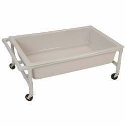 "High quality, furniture grade PVC frame is maintenance-free, lightweight, peel-proof, and won't rust or corrode. 4 heavy-duty casters make it easy to move. 2 casters lock for stability. Assembly required. 17""H x 45""W x 28""D."