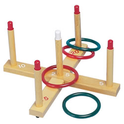 3 years & up. Wooden ring toss set includes 4 rings. Great for learning hand eye coordination and fun for preschoolers.