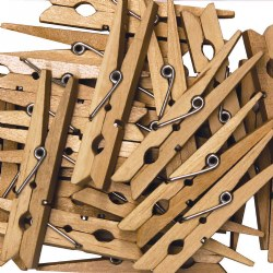 Wooden Spring Clothespins - 48 Pieces
