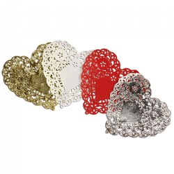 "100 Heart Doilies 4"" - 18 Gold & Silver, 32 Red & White"