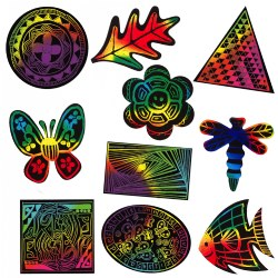 Scratch Art Shapes Set - 100 Pieces