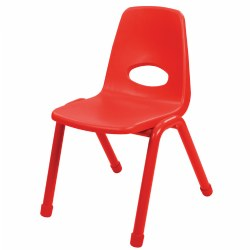 "Nature Color Chunky Stackable 17 1/2"" Teacher Chair - Red"