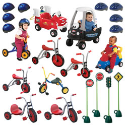 This selection of tricycles and wheeled vehicles for social and imaginative play provides an excellent avenue of exercise for children. Riding tricycles is a great way to extend their gross motor development and are completely developmentally appropriate. The trikes for the older children are built for years of rugged outdoor use. They are ergonomically designed and have anti-pinch seating.