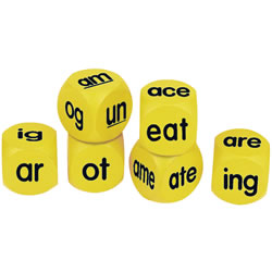 "Grades 1 & up. These phonics cubes are perfect for the classroom. Soft and quite, these hands-on manipulatives are perfect for games, small groups or individual play. Set includes 3 each of each two- and three-letter word families soft foam cubes and Activity Guide. Cube measures 1 5/8""."