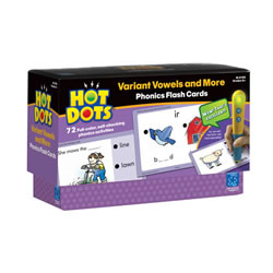 Grades K & up. Have fun identifying r-controlled vowels, vowel digraphs, and vowel diphthongs. Also silent letters, and words ending in -le and -y. 72 learning activities in all. Hot Dots® Power Pen sold separately.