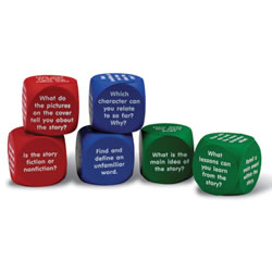 "Grades 1 & up. Help your students concentrate on what they read by adding a bit of surprise to the lesson. Students answer the questions before reading (red cubes), during reading (blue cubes) and after reading (green cubes). Can make for a lively discussion. Each cube measures 1 5/8"" x 1 5/8"". Set of 6 cubes total."