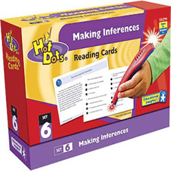 Grades 2 - 5. Help students practice comprehension skills with the fun element of Hot Dot-powered excitement! This 50 card box contains 10 passages for each of the 5 ability levels (2.0-6.0). Stories include many genres aligned to reading standards. After reading the story on the front of the card, the student flips it over to tackle 4 multiple choice questions designed to test specific reading comprehension skills. The student can either touch his answer choice with the Hot Dots® Pen (sold separately) for immediate feedback or can write his answers and check them against the included answer key. The perfect tool for challenging young students!