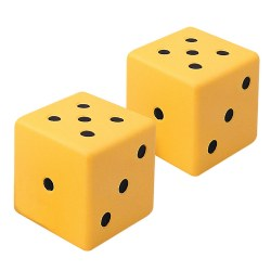 "4 years & up. 3"" molded dice with softly rounded corners. Great for any game or math activity! Set of 2."