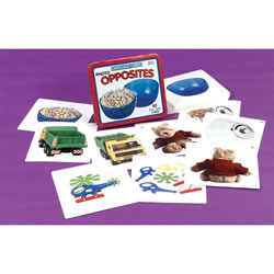"3 years & up. This set includes 20 opposite pairs (40 cards total, 6"" x 5 1/2"") for 10 different common antonyms. Each antonym is shown in two different contexts to help children understand different situations. Storage box and activity guide."