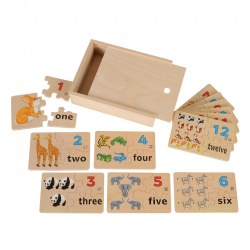 Numbers 1 - 12 Wooden Puzzles with Pictures, Numbers, and Words