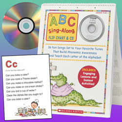 "PreK - Grade 1. Learning the ABCs is a joy with this BIG, laminated flip chart featuring an easy-to-learn song for each letter of the alphabet! Turn to this sturdy, colorful resource every day to teach phonemic awareness, letter recognition, early reading skills, and more! Includes eye - catching illustrations, ready-to-go lesson plans, instant letter activities, PLUS all 26 songs on CD. Approximately 20""H x 15""W."